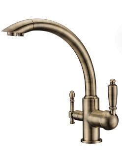 Смеситель для кухни Aksy Bagno TL-1517 Бронза с переключателем на питьевую воду