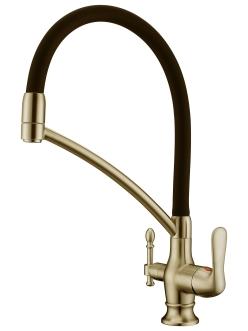Смеситель для кухни Aksy Bagno TL-18023 Бронза с переключателем на питьевую воду