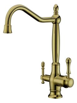 Смеситель для кухни Aksy Bagno TL-18050 Бронза с переключателем на питьевую воду