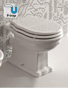 BelBagno Boheme BB115CB – Унитаз приставной P-trap с белым сиденьем