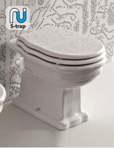 BelBagno Boheme BB115CBS – Унитаз приставной S-trap с белым сиденьем