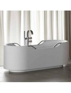 Armani Roca Baia Ванна отдельностоящая с 4 ручками, белый/brushed steel