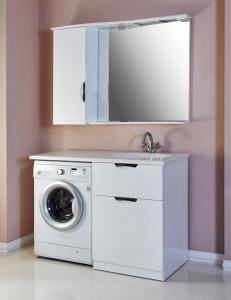 Атолл Бавария Комплект мебели под стиральную машину, Белый глянец