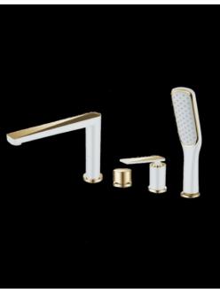 Boheme Venturo 380-W Смеситель на борт ванны однорычажный (Белый/золото)
