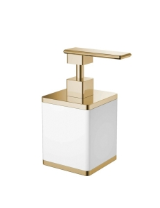 Boheme 10969-W-G Диспенсер для мыла настольный, белый/золото