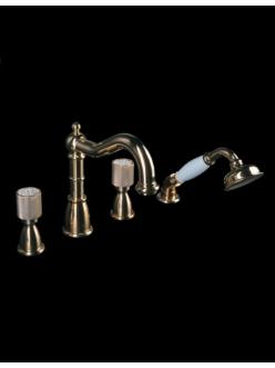 Смеситель на борт ванны Boheme Royal Cristal 395-CRST Золото