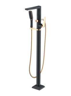 Boheme Venturo 389-B Смеситель для ванны напольный однорычажный (Черный/золото)