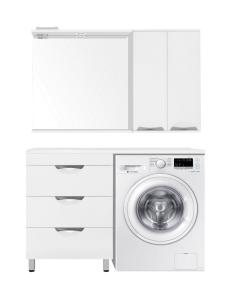 El Fante Жасмин 120 (3 ящ.) Мебель напольная под стиральную машину, белый глянец, левая/правая