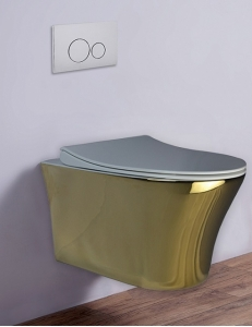 Esbano VIGO Унитаз подвесной безободковый, золото