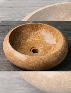 Natural Stone 40 Donut Brown Круглая накладная раковина из коричневого мрамора