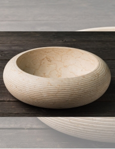 Natural Stone 40 Cream Alur Круглая накладная раковина из кремового мрамора