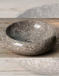 Natural Stone 40 Donut Grey Круглая накладная раковина из серого мрамора