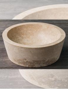 Natural Stone 40 Сream Alur Раковина из кремового мрамора с ручной отделкой