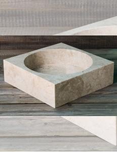 Natural Stone Раковина-чаша из натурального кремового мрамора, квадратная 45 см