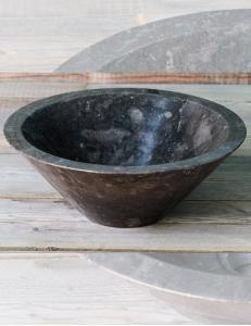 Natural Stone Мраморная чёрная раковина в форме вазы, круглая 40 см
