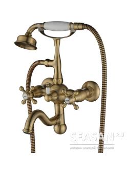 Смеситель для ванны Aksy Bagno Primavera 101 с душевой лейкой Хром, Бронза