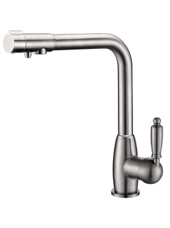 Смеситель для кухни Aksy Bagno TL-1514 с переключателем на питьевую воду, никель