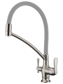 Смеситель для кухни Aksy Bagno TL-18023 с переключателем на питьевую воду, никель