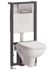 Комплект Vitra S20 9004B003-7204 — Унитаз с крышкой + Кнопка + Инсталляция