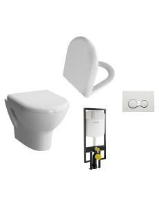 Комплект VitrA Zentrum 9012B003-7205 — Унитаз со стандартным сиденьем + Инсталляция + Кнопка