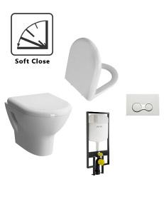 Комплект VitrA Zentrum 9012B003-7206 — Унитаз c сиденьем микролифт + Инсталляция + Кнопка