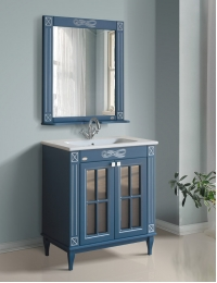 Атолл Милана Blue Silver Комплект мебели для ванной, Синий с серебряной патиной