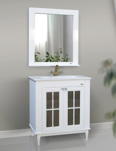 Атолл Милана White Комплект мебели для ванной, Белый глянец