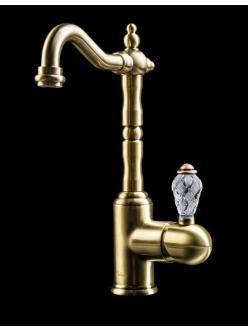 Boheme Crystal 302-CRST Высокий однорычажный смеситель для умывальника (Бронза)