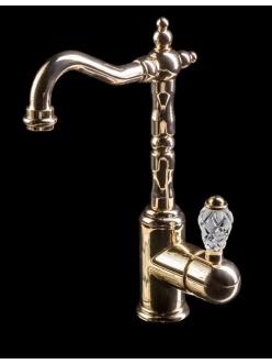 Boheme Crystal 282-CRST Высокий однорычажный смеситель для умывальника (Золото)
