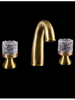 Смеситель для раковины на 3 отверстия Boheme Crystal 317-CRST Бронза