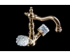 Boheme Crystal 292-CRST Высокий двуручковый смеситель для умывальника (Золото)