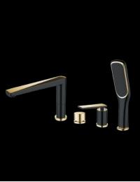 Boheme Venturo 380-B Смеситель на борт ванны, черный/золото