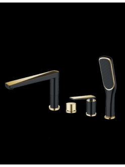 Boheme Venturo 380-B Смеситель на борт ванны однорычажный (Черный/золото)
