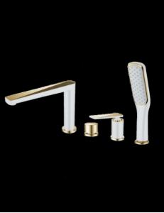 Boheme Venturo 380-W Смеситель на борт ванны, белый/золото