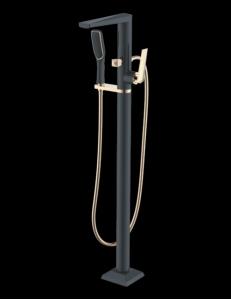 Boheme Venturo 389-B Смеситель для ванны напольный, черный/золото
