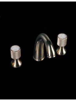 Смеситель для раковины на 3 отверстия Boheme Royal Cristal 297-CRST Золото