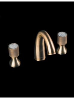 Смеситель для раковины на 3 отверстия Boheme Royal Cristal 317-CRST Бронза