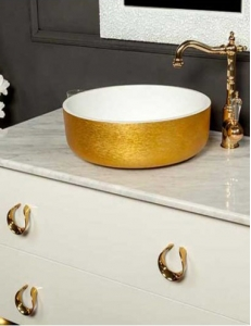 Boheme Corian LV204 819-G Раковина накладная, золото
