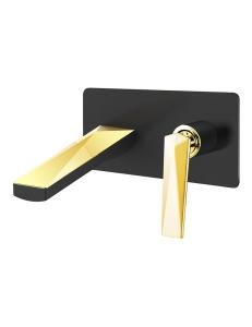 Boheme Venturo 385-B Смеситель для умывальника из стены, черный/золото
