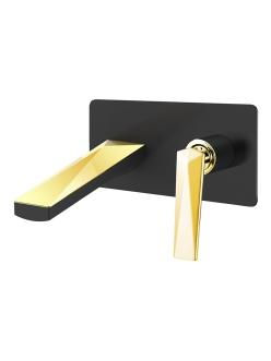 Boheme Venturo 385-B Смеситель для умывальника из стены (Черный/золото)