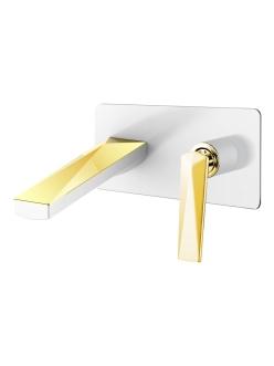 Boheme Venturo 385-W Смеситель для умывальника из стены (Белый/золото)