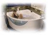 Bretto Saspiri 150х150 Угловая ванна из гелькоута с каркасом и экраном