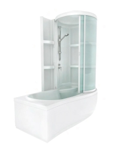 Bretto Tibr 170x80 ванна асимметричная в комплекте с каркасом, экраном и кабиной