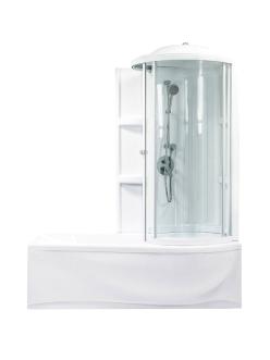 Bretto Tibr 1800x800 Асимметричная ванна из гелькоута с каркасом, экраном и кабиной