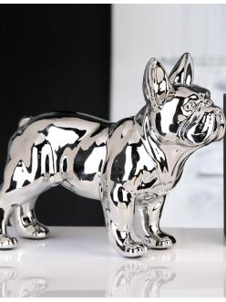 Керамическая фигурка серебристая Casablanca Design «Бульдог» арт. 36902