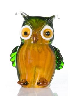 Стеклянная скульптура Casablanca «Сова» арт. 87095 оранжево-зеленая