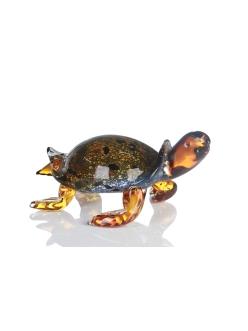Стеклянная скульптура Casablanca «Черепаха» арт. 87727 (коричнево-желто-оранжевая)