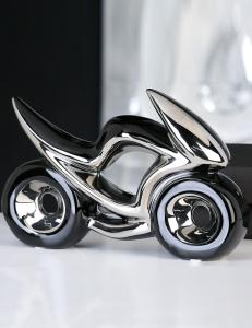"""Casablanca Design Керамический мотоцикл черно-серебристый """"Гонка"""" арт. 36935"""