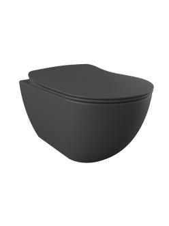 Creavit Free FE320.60100 – Унитаз подвесной с сиденьем микролифт, Антрацит матовый