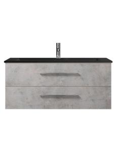 Creto Ares Тумба подвесная 2 ящика 120 см с черной раковиной, серый